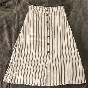 Black & white striped midi skirt